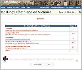 Contents of On the Death of King and on Violence